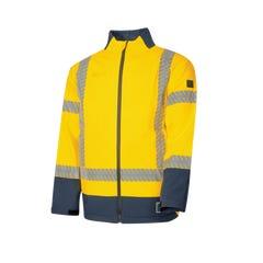 Tru Workwear Flame Retardant & Anti-static Softshell Jacket Hi Vis With 3M Reflective Tape - Yellow / Navy