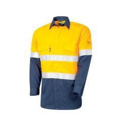 Tru Workwear Flame Retardant Lightweight Shirt HRC1 With Loxy FR Tape - Yellow / Navy