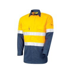 Tru Workwear Flame Retardant Shirt HRC2 With Loxy FR Tape - Yellow / Navy