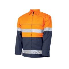 Tru Workwear Cotton Canvas Drill Jacket With 3M Tape - Orange / Navy