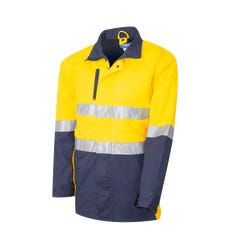 Tru Workwear 3/4 Length Cotton Canvas Drill Jacket With 3M Tape - Yellow / Navy