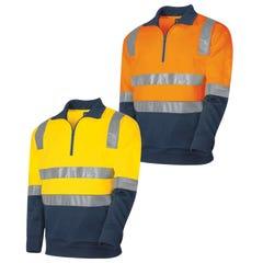 Tru Workwear 1/4 Zip Fleece Jumper With Tru Reflective Tape - Orange / Navy