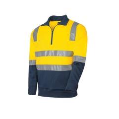 Tru Workwear 1/4 Zip Fleece Jumper With Tru Reflective Tape - Yellow / Navy