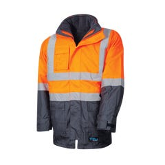 Tru Workwear 4 In 1 Rain Jacket - Orange / Navy