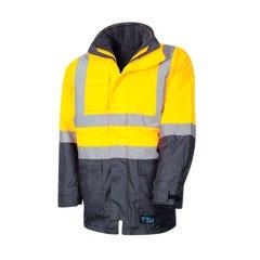Tru Workwear 4 In 1 Rain Jacket - Yellow / Navy