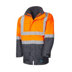 Tru Workwear 6 In 1 Rain Jacket Combo With Tru Reflective Tape - Orange / Navy