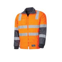 Tru Workwear Wet Weather Jacket With Removable Sleeves & Tru Reflective Tape - Orange / Navy