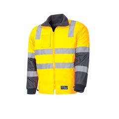 Tru Workwear Wet Weather Jacket With Removable Sleeves & Tru Reflective Tape - Yellow / Navy