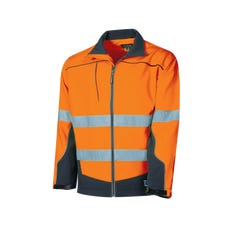 Tru Workwear Softshell Full Zip Jacket With Tru Reflective Tape - Orange / Navy