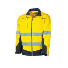 Tru Workwear Softshell Full Zip Jacket With Tru Reflective Tape - Yellow / Navy
