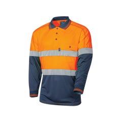 Tru Workwear Micromesh Hi Vis Polo With Tru Tape - Orange / Navy