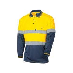 Tru Workwear Micromesh Hi Vis Polo With Tru Tape - Yellow / Navy