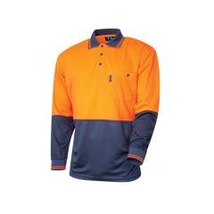 Tru Workwear Micromesh Hi Vis Polo Longsleeve - Orange / Navy