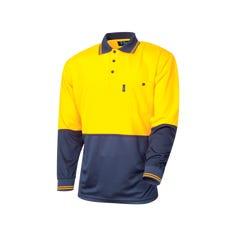 Tru Workwear Micromesh Hi Vis Polo Longsleeve - Yellow / Navy