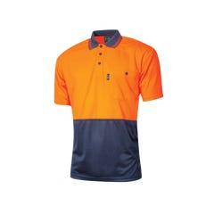 Tru Workwear Micromesh Hi Vis Polo Shortsleeve - Orange / Navy