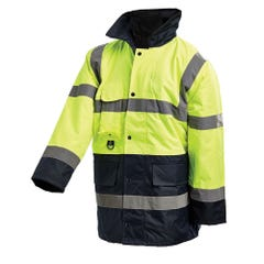Workit Hi-Vis 2 Tone 3/4 Length Wet Weather Taped Jacket - Yellow / Navy
