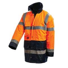 Workit Hi-Vis 2 Tone 3/4 Length Wet Weather Taped Jacket - Orange / Navy
