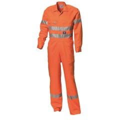 WS Workwear Mens Hi-Vis Drill Coverall with Reflective Tape - Orange