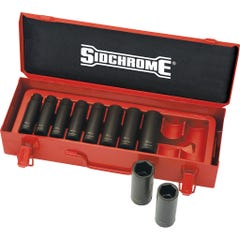 "Sidchrome 10 Piece 1/2"" Drive Long Impact Socket Set, Metric"