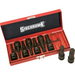 """Sidchrome 9 Piece 1/2""""Drive In-Hex Impact Socket Set, Metric"""