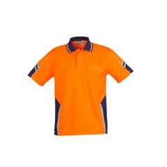 Syzmik Mens Hi Vis Squad Short Sleeve Polo - Orange / Navy