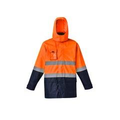Syzmik Mens Hi Vis Basic 4 in 1 Waterproof Jacket - Orange / Navy