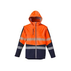 Syzmik Unisex 2 In 1 Stretch Softshell Taped Jacket - Orange / Navy