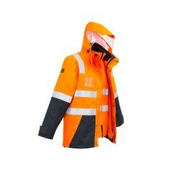 Syzmik Mens Hi Vis 4 in 1 Waterproof Jacket - Orange / Navy