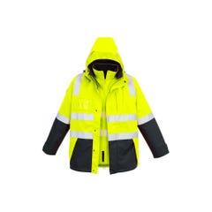 Syzmik Mens Hi Vis 4 in 1 Waterproof Jacket - Yellow / Navy