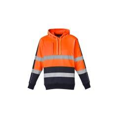 Syzmik Unisex Hi Vis Stretch Taped Hoodie - Orange / Navy