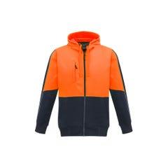 Syzmik Unisex Hi Vis Full Zip Hoodie - Orange / Navy