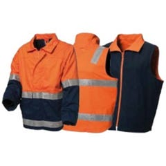 WS Workwear 4-in-1 Jacket with Reflective Tape - Orange / Navy