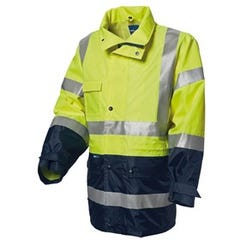 WS Workwear Hi-Vis Waterproof 6-in-1 Jacket with Reflective Tape - Yellow / Navy