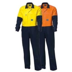 WS Workwear Hi-Vis Drill Overall - Orange / Navy