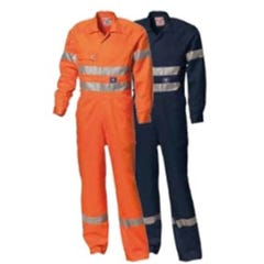WS Workwear Mens Hi-Vis Drill Coverall with Reflective Tape - Navy