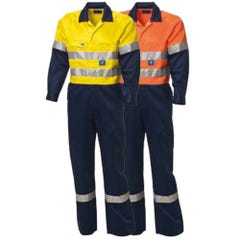 WS Workwear Mens Hi-Vis Drill Overall with Reflective Tape- Yellow / Navy
