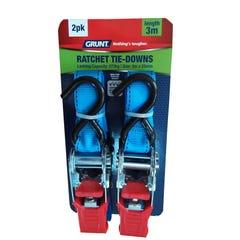 Grunt Ratchet Tie Down Straps  25mm x 3m (Qty x 2)