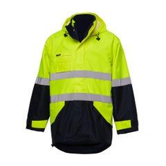 King Gee 4 in 1 Waterproof Wet Weather Jacket - Yellow / Navy