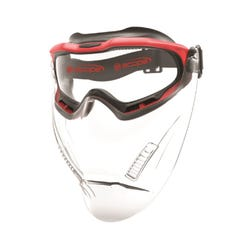 Scope Optics Spartan Red Frame Safety Goggles With Clear Visor