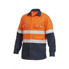 Hard Yakka Shieldtec Fr Hi Vis 2 Tone Open Front Taped Shirt - Orange / Navy