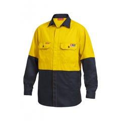 Hard Yakka Shieldtec Fr Hi Vis 2 Tone Open Front Shirt - Yellow / Navy