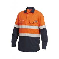 Hard Yakka Shieldtec Fr Hi Vis 2 Tone Closed Front Taped Shirt - Orange / Navy