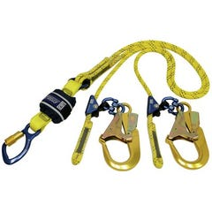 3M DBI-SALA® Force2 Adjustable Shock Absorbing Kernmantle Rope Lanyard - Double Tail Z13206119R, Yellow with black fleck